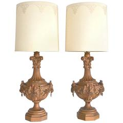 Pair of Hollywood Regency Carved Wooden Urn Form Table Lamps by Marbro