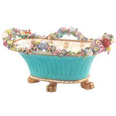 English Regency Coalbrookdale (John Rose Coalport) Porcelain Basket on Feet