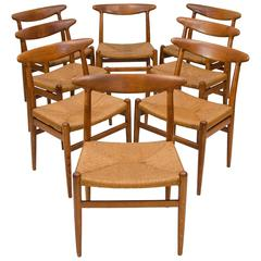 Set of Eight Hans Wegner Dining Chairs, Model W2 by C. M. Madsens
