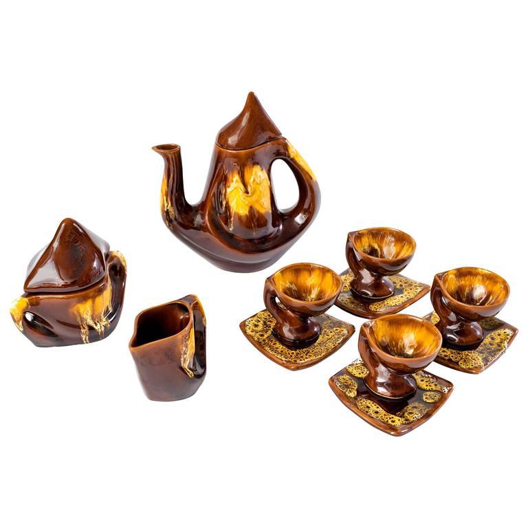 1960s Vallauris Ceramic Coffee Set