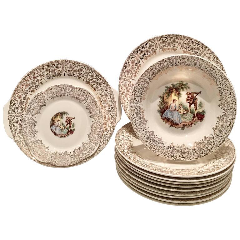 1940\u0027S 22-Karat Gold American Limoges Dinnerware S/13 For Sale  sc 1 st  1stDibs & 1940\u0027S 22-Karat Gold American Limoges Dinnerware S/13 For Sale at ...