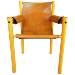 Camel Brown Leather and Birchwood Armchair from Ibisco, 1970s