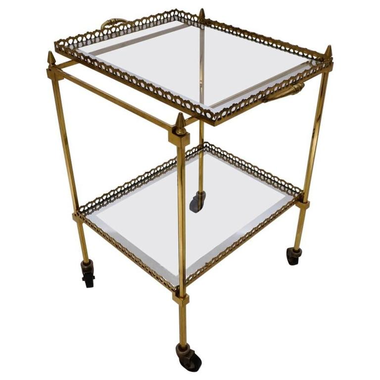 Maison Jansen Brass Table With Tray And Shelf, 1950s Ca