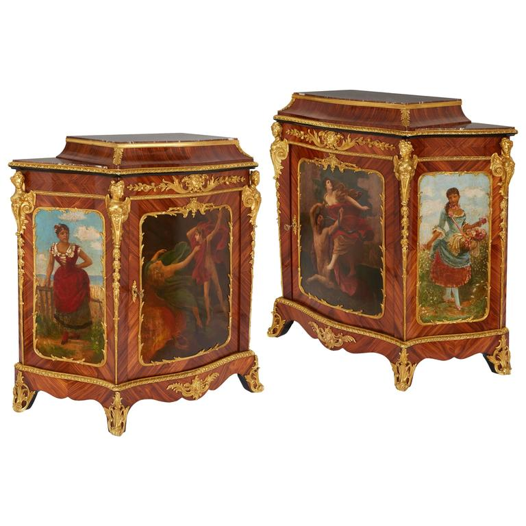 Pair of Rococo style painted tulipwood antique side cabinets