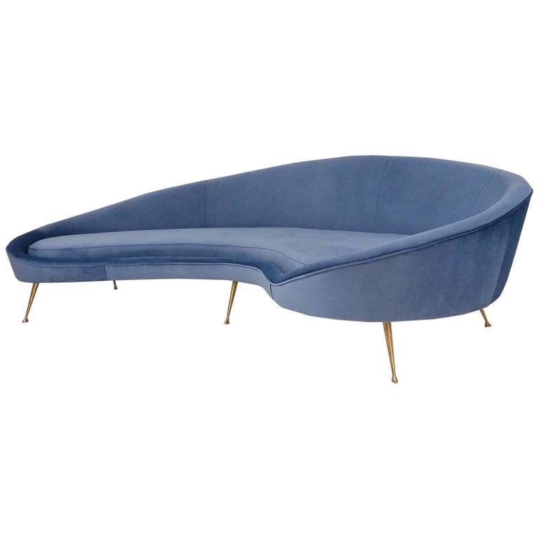 Ico Parisi Style sofa 1950s Style in 25 colours of velvet, Italian