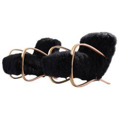 Jindrich Halabala Reupholstered Lounge Chairs in Exclusive Tibetan Wool