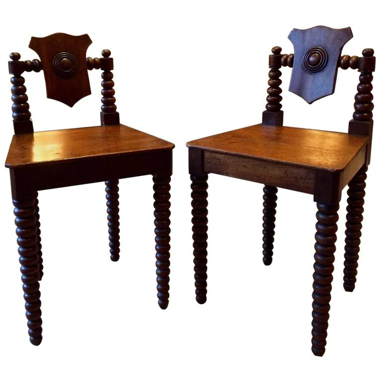 Pair Antique Hall Chairs Regency Mahogany Early 19th Century, circa 1811 For Sale