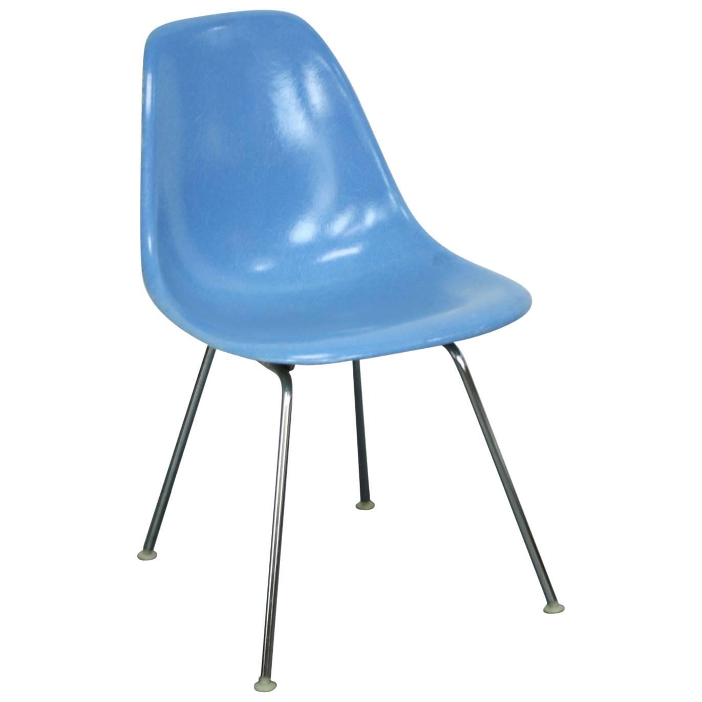 Charles Eames Herman Miller Dss Chair In Blue On Original Metal H Base For Sa