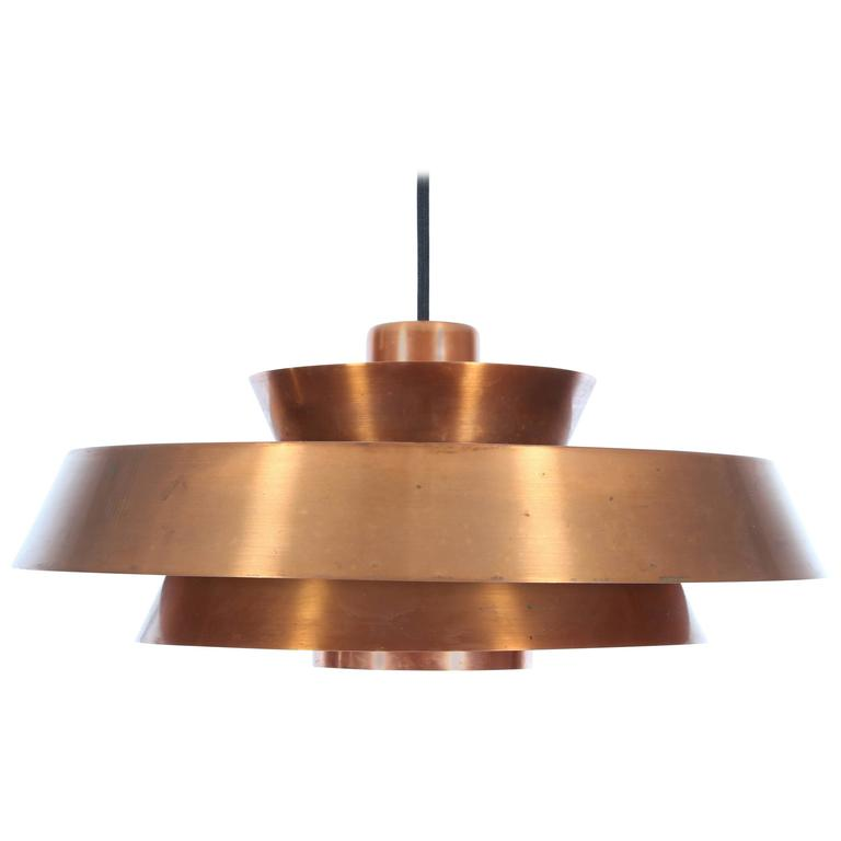 Mid Century Danish Pendant Light In Copper Model Nova By Jo
