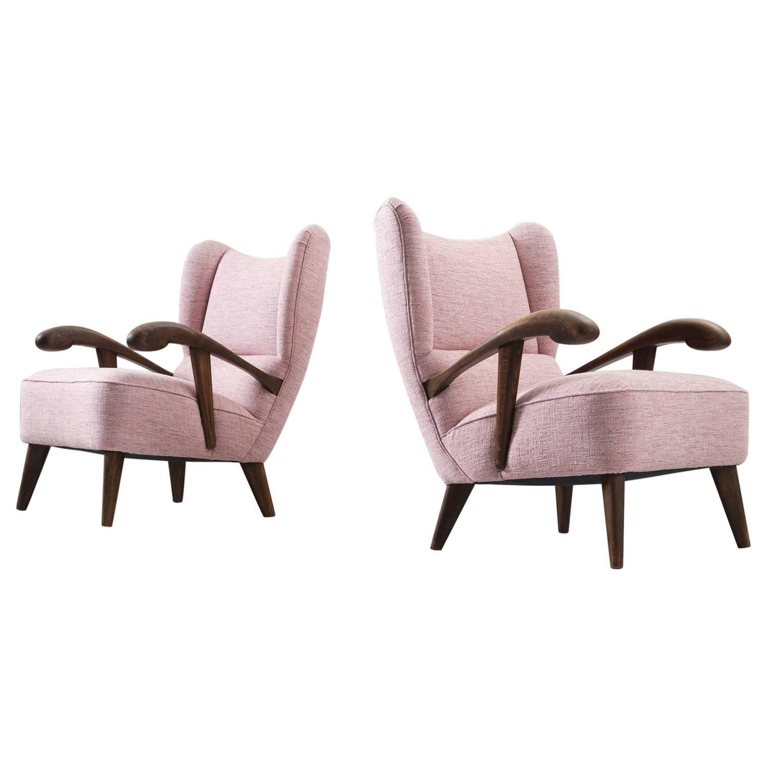 Pair of reupholstered lounge chairs with sculptural wooden for Reupholstered chairs for sale