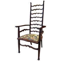 Antique Armchair Ladder Back Art Nouveau Early 20th Century Edwardian