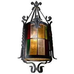 French Stained Glass Chandelier, Lantern