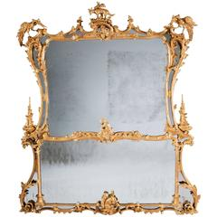 18th Century Chippendale Period Giltwood Mirror, Highly Important & Rare Antique