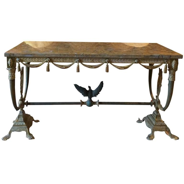 ornate french coffee table marble brass rectangular regency style at 1stdibs. Black Bedroom Furniture Sets. Home Design Ideas