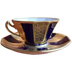 20th Century Coffee Cup Cobalt Blue/Gold Graf Von Henneberg