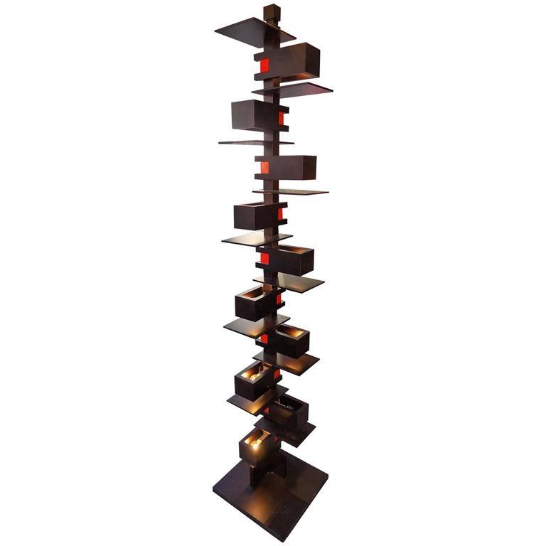 black taliesin frank lloyd wright wood floor lamp yamagiwa edition 1