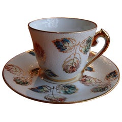 20th Century Limoges Hand-Painted Porcelain Coffee Cup by R.Leclair