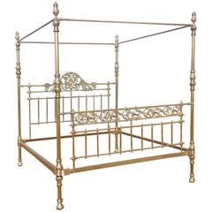 All Brass Wide Four Poster Bed with Song Bird Castings, M4P21