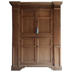 Antique Housekeepers Cupboard Linen Press Pine Victorian Large