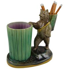 Joseph Holdcroft English Majolica Bear and Barrel Match Pot or Toothpick Holder