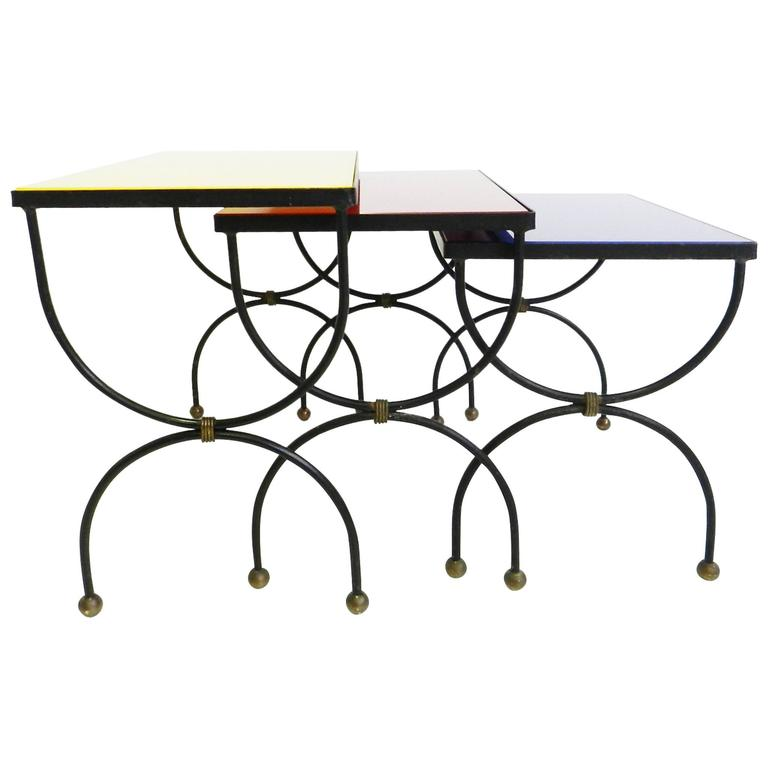 "Set of Nesting Tables Attributed to Jean Royère with ""Mondrian"" Colored Glass For Sale"