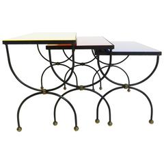 "Set of Nesting Tables Attributed to Jean Royère with ""Mondrian"" Colored Glass"