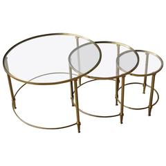 Fine French Mid-Century Solid Brass and Glass Tops Nesting Tables