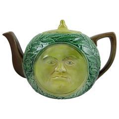 19th Century Adams & Bromley English Majolica 'Man in the Moon' Teapot