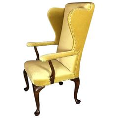 Frits Henningsen Attributed to Wingback Chair in Gold Mohair, Denmark