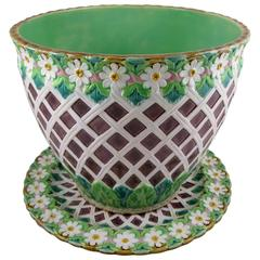 Excellent 19th Century Minton English Majolica Daisy & Trellis Jardinière