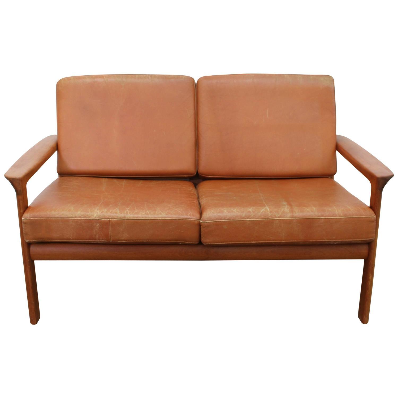 Cognac Leather Sofa Loveseat with Teak Frame Scandinavian Modern