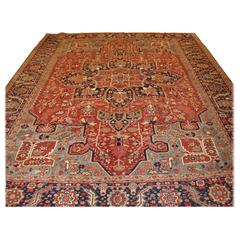 Antique Persian Heriz Carpet, Soft Reds and Light Blues
