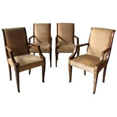 4 Fine French Art Deco Neoclassical Walnut Bridge Armchairs