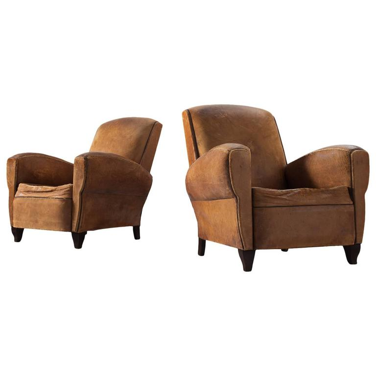 Set of Two Art Deco Club Chairs with Patinated Leather