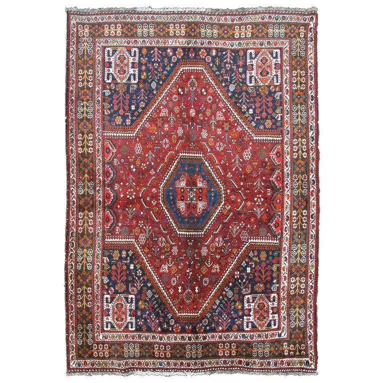 Qashqai Shiraz Rug: Vintage Persian Tribal Qashqai Shiraz Rug At 1stdibs