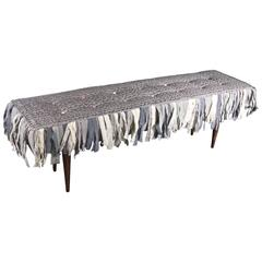 Handmade Bench with Hand-Painted Textile and Handmade Cotton Fringe