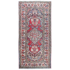 Vintage Persian Bakhtiari Rug with Ornate Central Medallion and Rich Red Blue