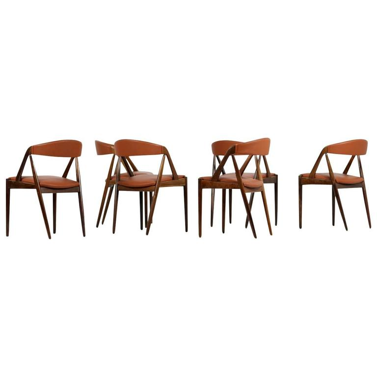 Set of Six 1960s Kai Kristiansen Model 31 Rosewood Dining Chairs Cognac Leather