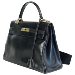 Hermès, Paris, Kelly Bag, Black Leather, 1963, Vintage