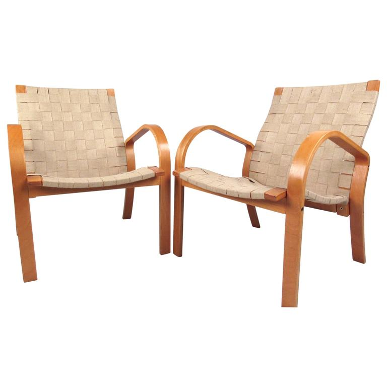 Pair of Vintage Alvar Aalto Style Linen Strap Armchairs
