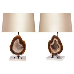 Pair of Rare Natural Agate Lamps