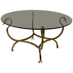 Italian Brass Swan Cocktail Table