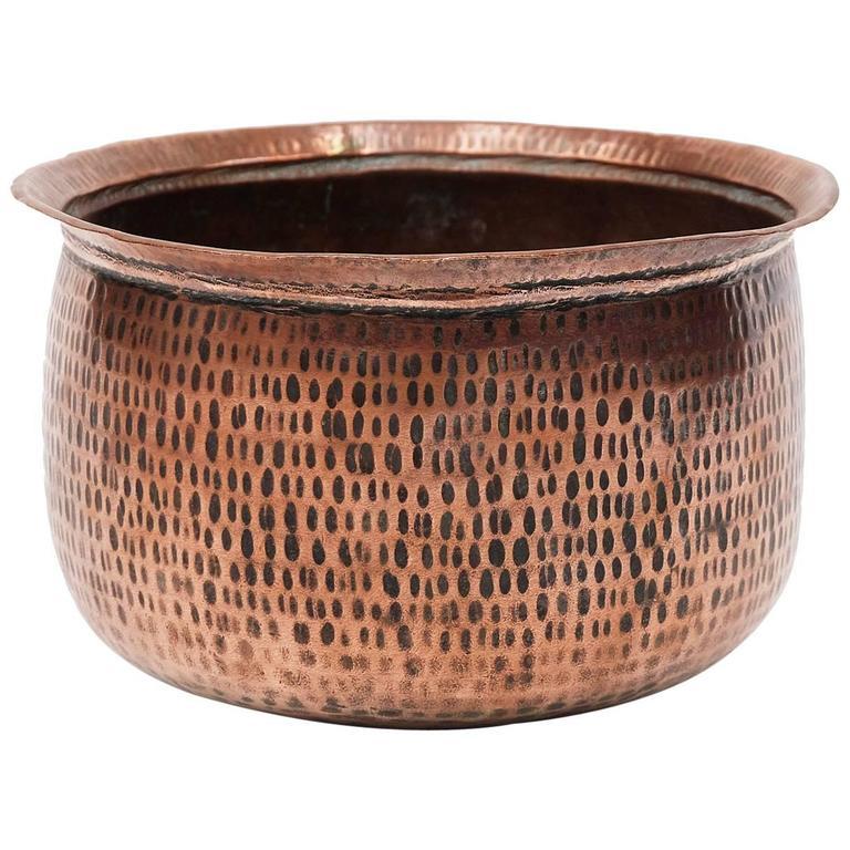 1950s Hand Beaten Copper Plant Pot Bowl Planter For Sale