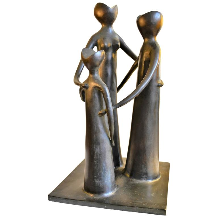 Abstract Figural Modernist Bronze Sculpture
