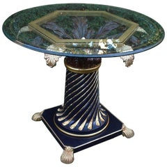 Hollywood Regency Centerpiece Table with Etched Glass Top