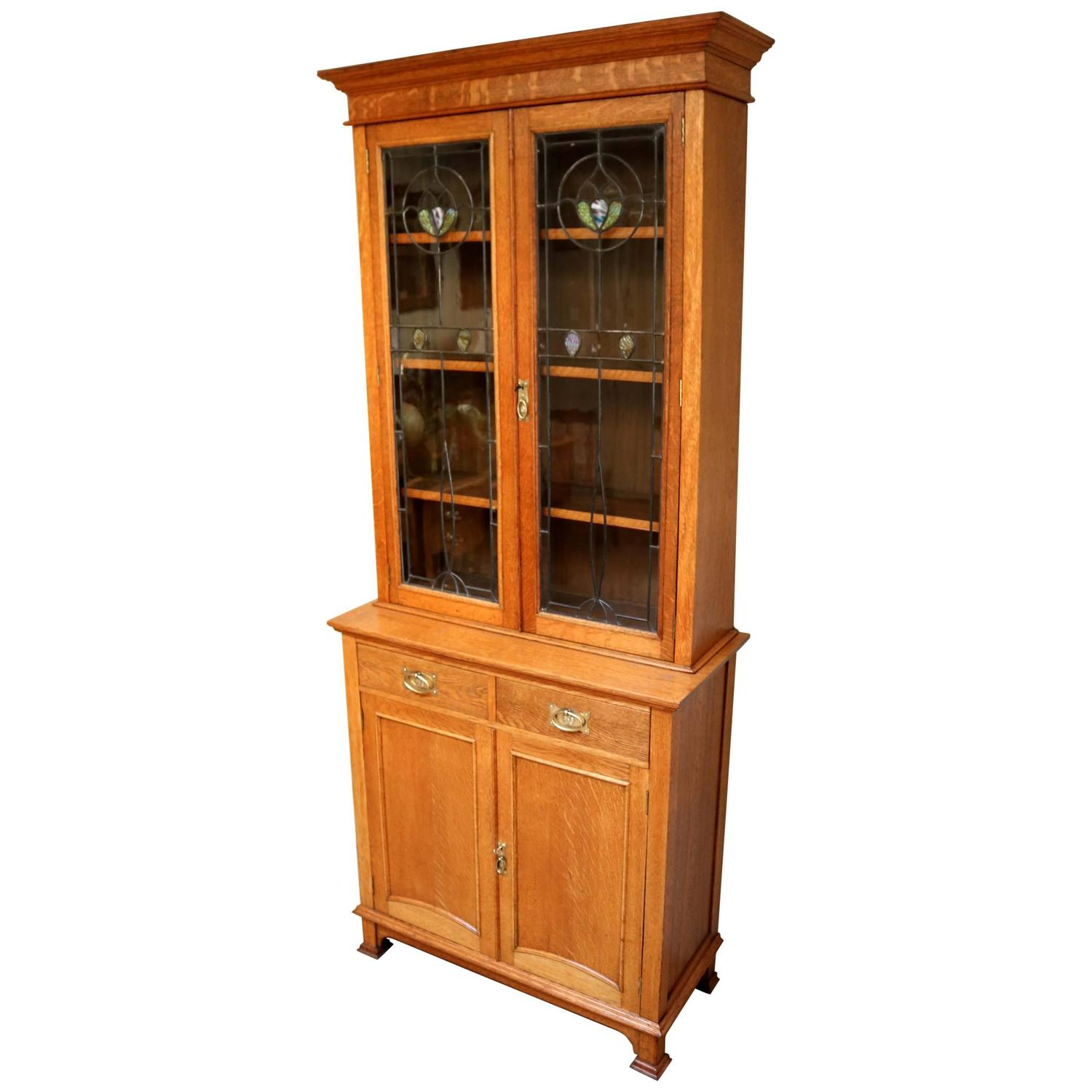 Arts and crafts cabinet bookcase for sale at 1stdibs for Arts and crafts storage cabinet