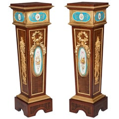 Pair of French Harewood, Ormolu and Blue and White Porcelain Pedestals