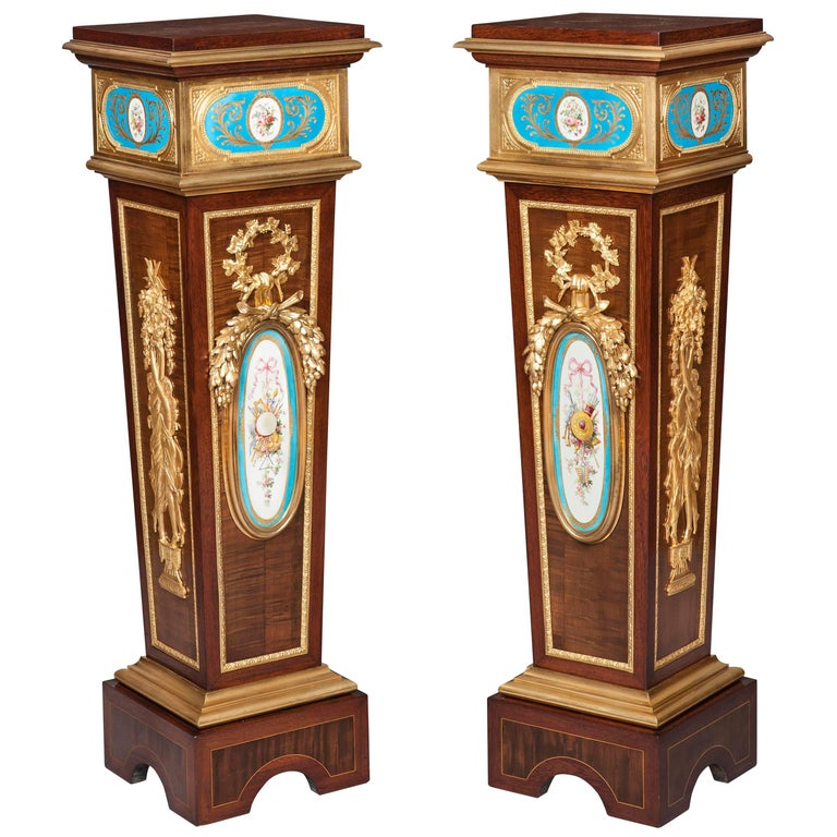 Pair of French Harewood, Ormolu and Blue and White Porcelain Pedestals For Sale