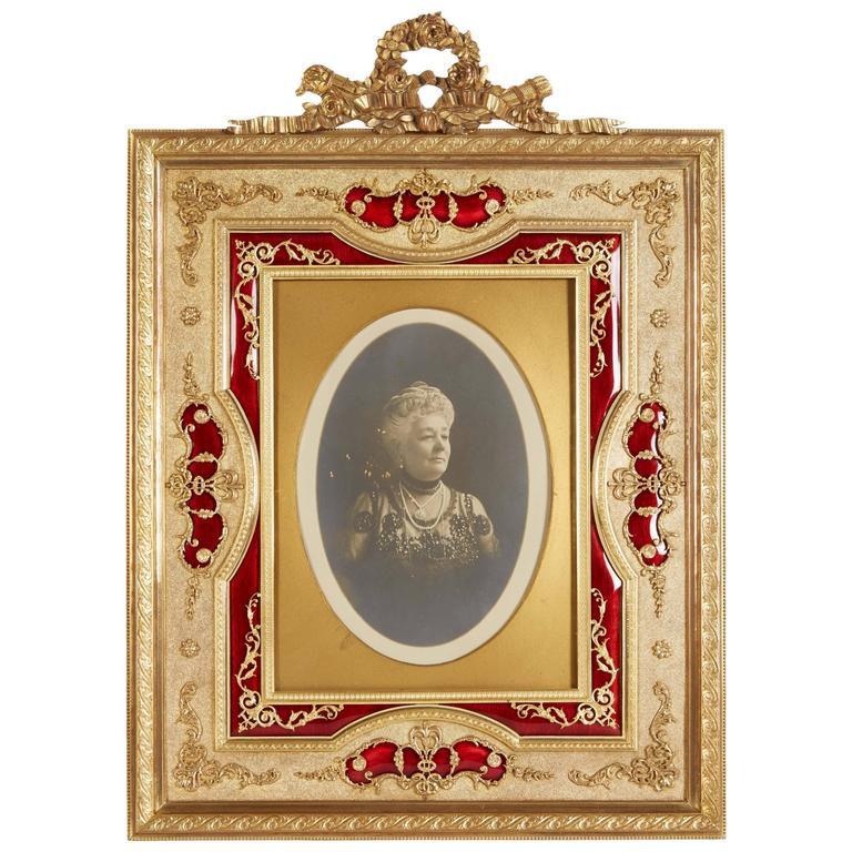 Large French Gilt Bronze Ormolu and Red Guilloche Enamel Picture Photo Frame For Sale