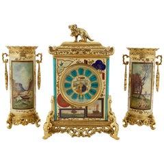 "French ""Japonisme"" Gilt-Bronze Mounted Three-Piece Porcelain Clock Garniture"